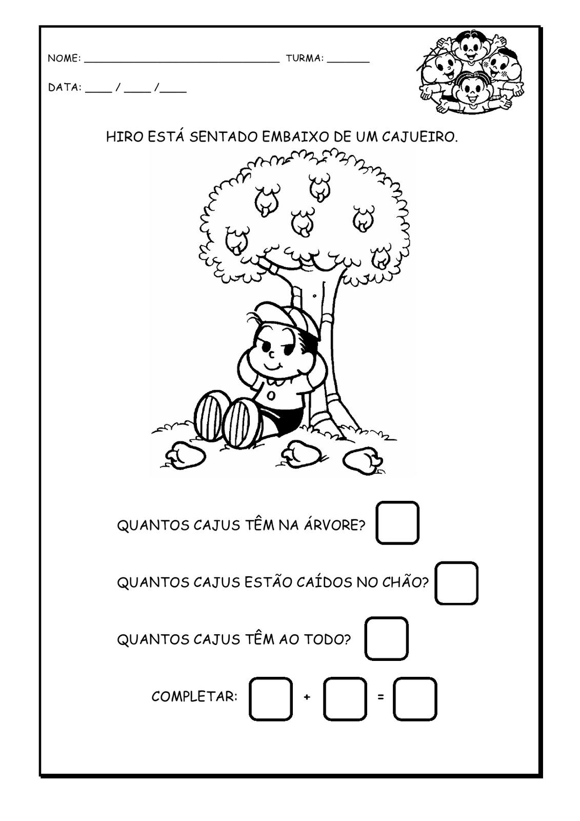Atividades De Matematica 1 Ao 10 Numerais Turma Da Monica