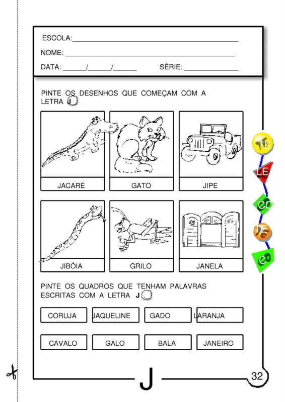 ATIVIDADES COM LETRA J PRONTAS PARA IMPRIMIR