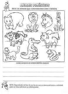 Atividades sobre animais selvagens e domésticos
