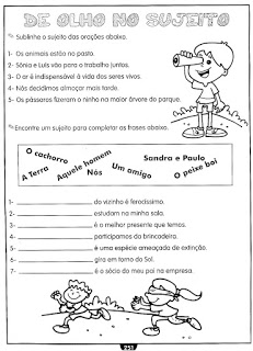 Sujeito Predicado Atividades Ling Portuguesa Imprimir  (10)