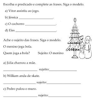 Sujeito Predicado Atividades Ling Portuguesa Imprimir  (4)