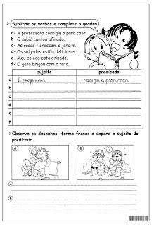 Sujeito Predicado Atividades Ling Portuguesa Imprimir  (8) (1)