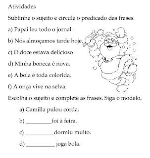 Sujeito Predicado Atividades Ling Portuguesa Imprimir  (9)