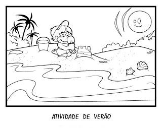 Verão Desenhos Atividades praia férias brincadeiras colorir Imprimir (16)