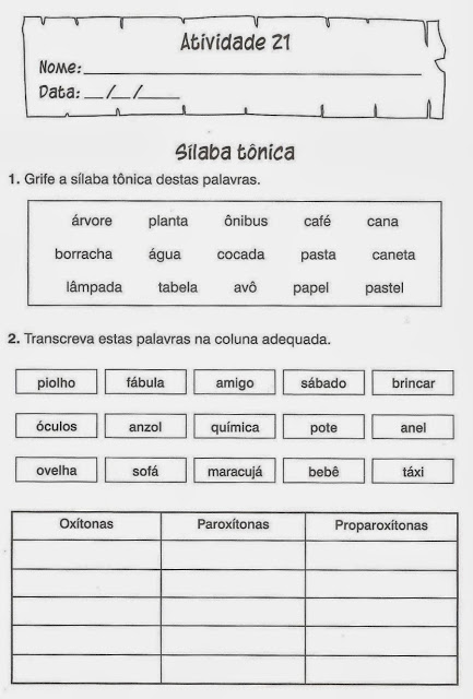 atividades de portugues silabas