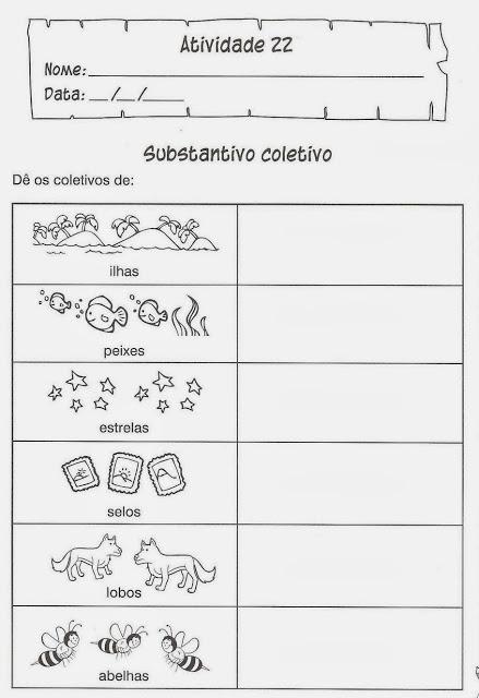 atividades de portugues substantivo