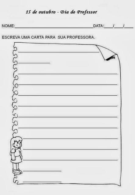 atividades dia do professor carta