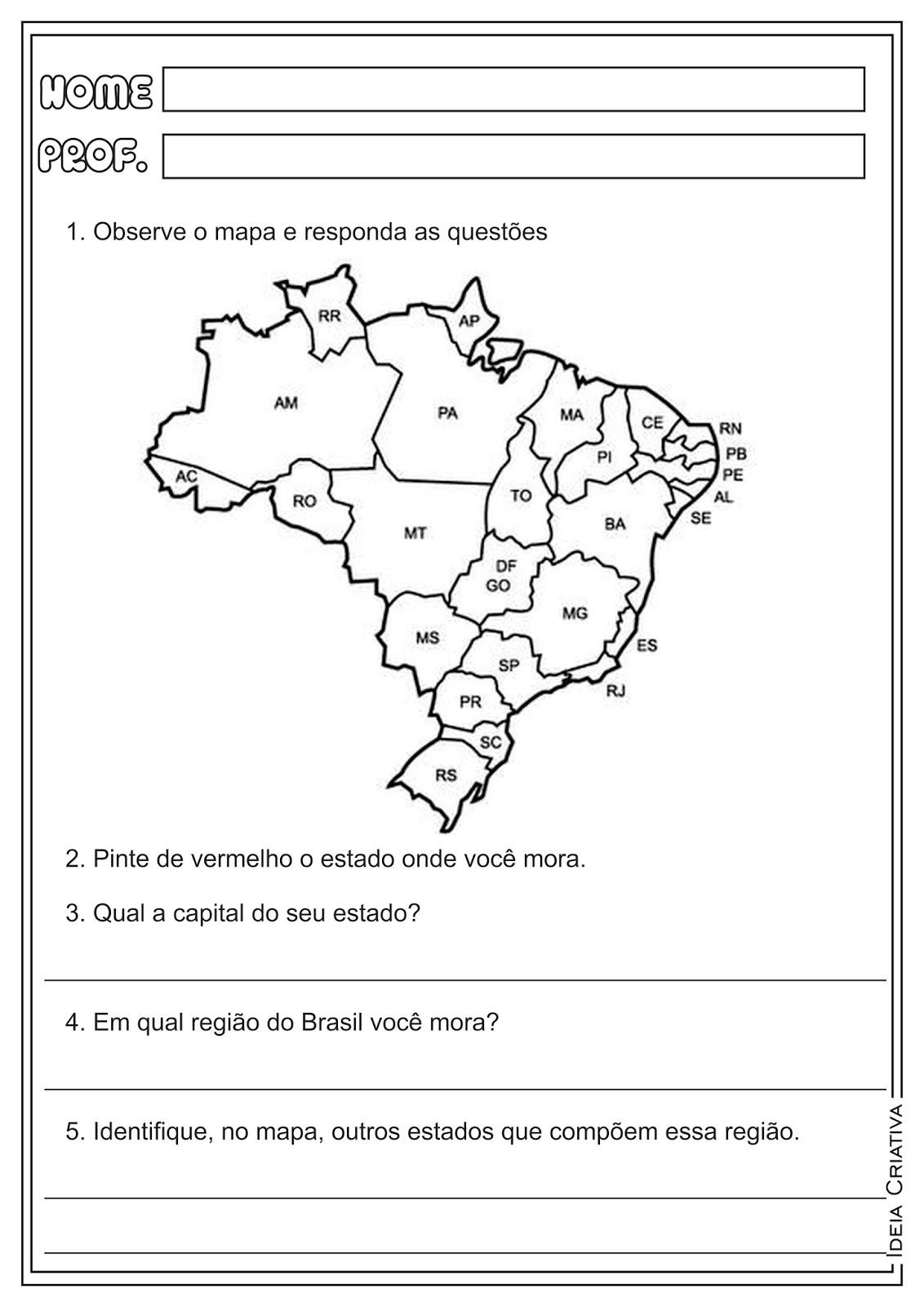 Famosos Atividades sobre estados, capitais e regiões do Brasil - Geografia  VN81