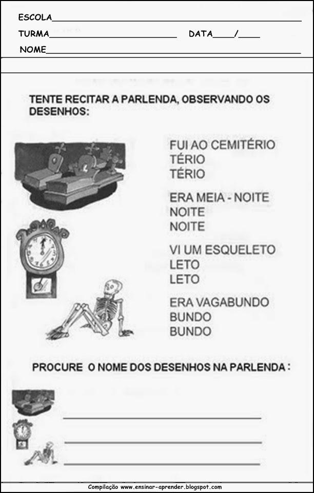 atividades escolares 011 Parlendas