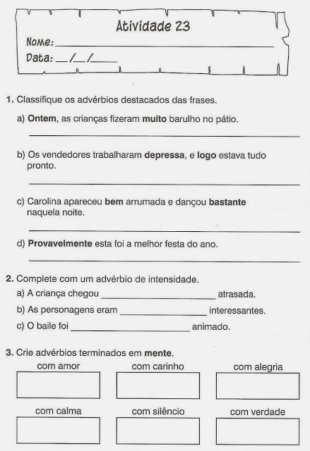 atividades exercicios portugues