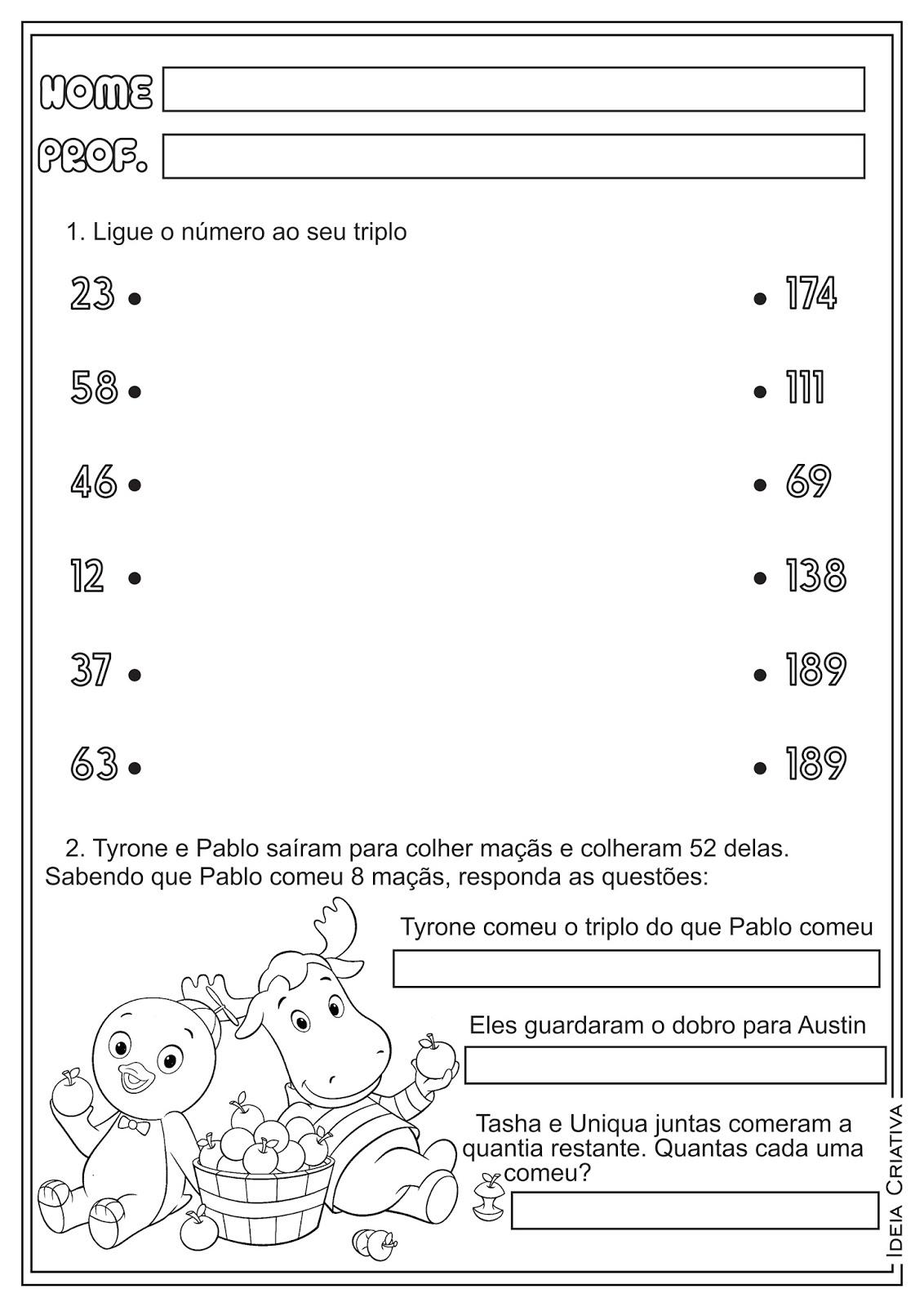 Atividades De Matemática Sobre Metade Dobro E Triplo Atividades