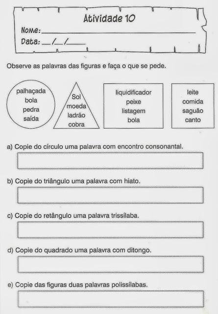 atividades portugues 4 ano