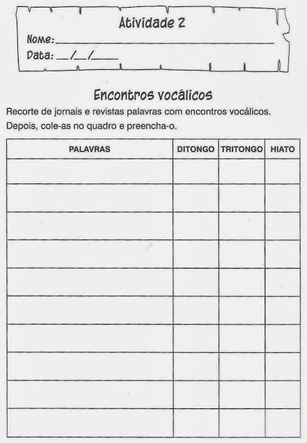 atividades portugues econtro vocalicos