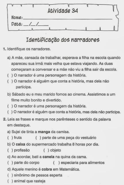 atividades portugues identificacao