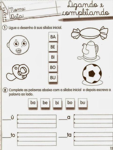 exercicio alfabetizacao b a ba