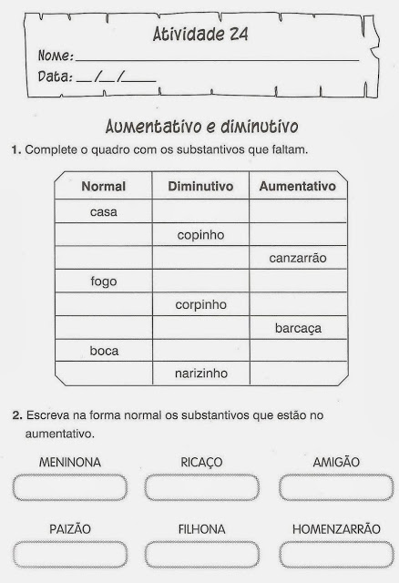 exercicio portugues aumentativo