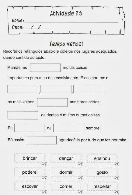 exercicio portugues tempo verbal