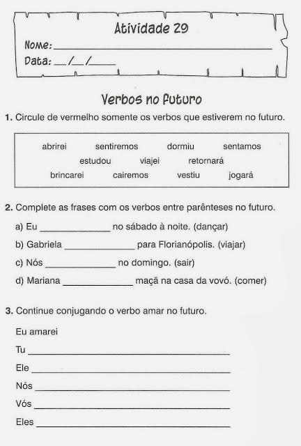 exercicio portugues verbos