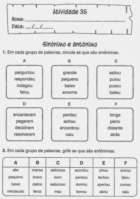 exercicios portugues sinonimo