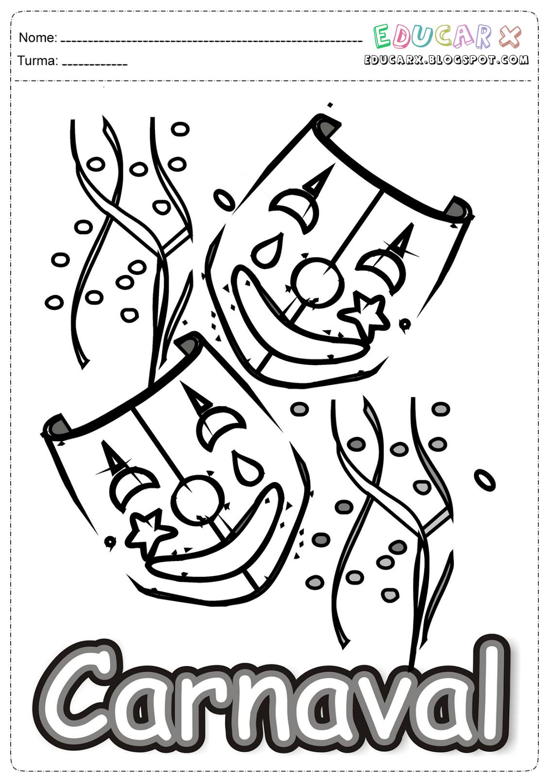 Desenhos De Carnaval Para Pintar Atividades Pedagógicas