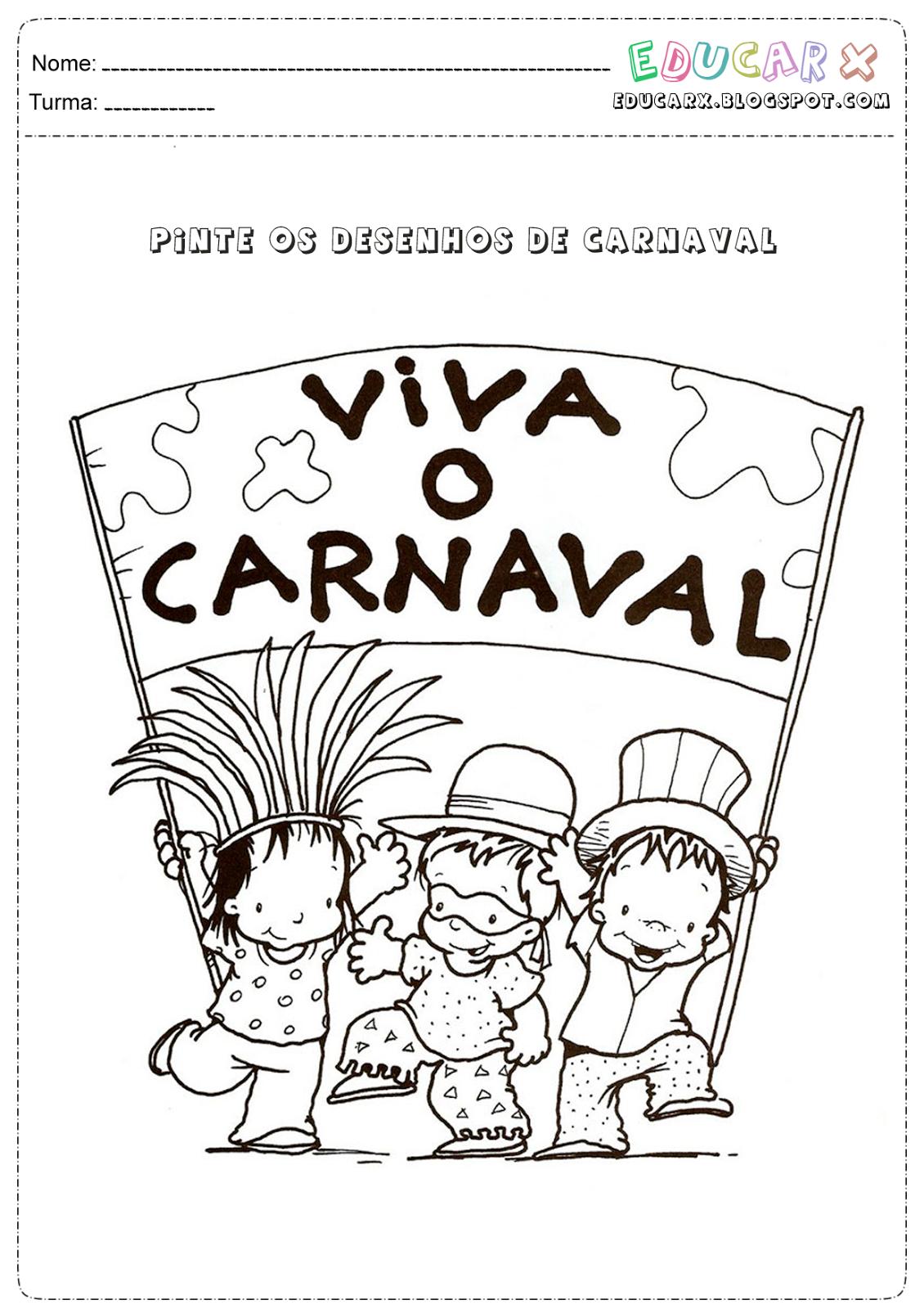 Desenho de carnaval para pintar