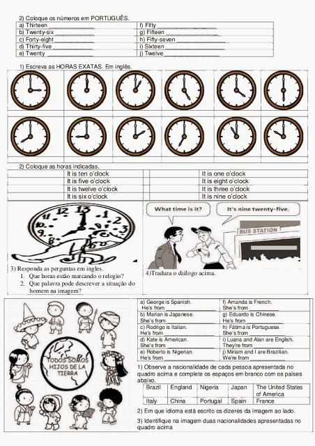 Atividade de inglês 6° ano do ensino