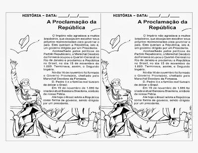 Atividade proclamação da republica 1° ano