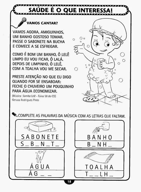 Atividade sobre higiene para educação infantil