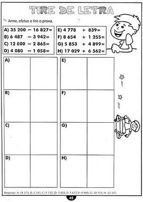 Atividade de matemática - 4 ano