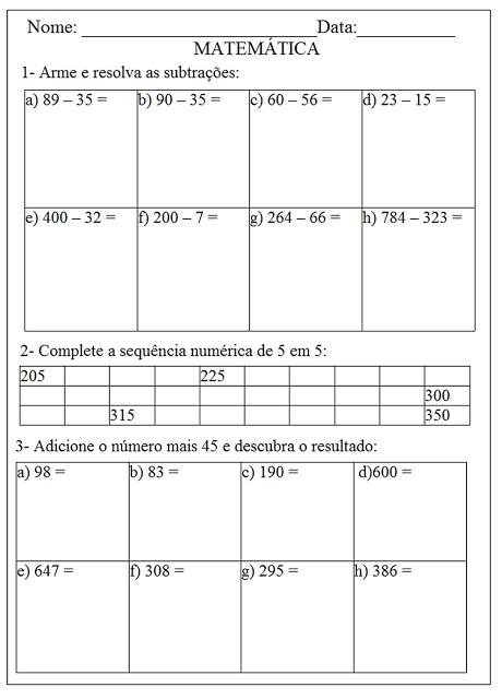 Exercícios de matemática imprimir