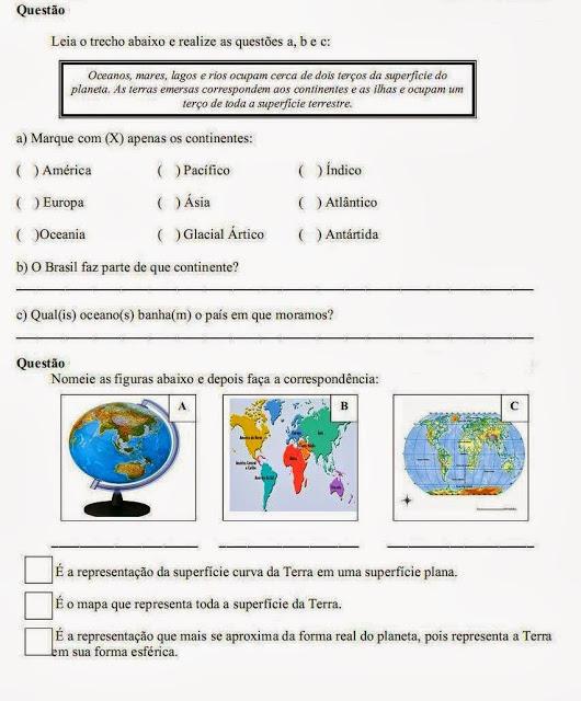 Atividade de geografia 4° ano fundamental
