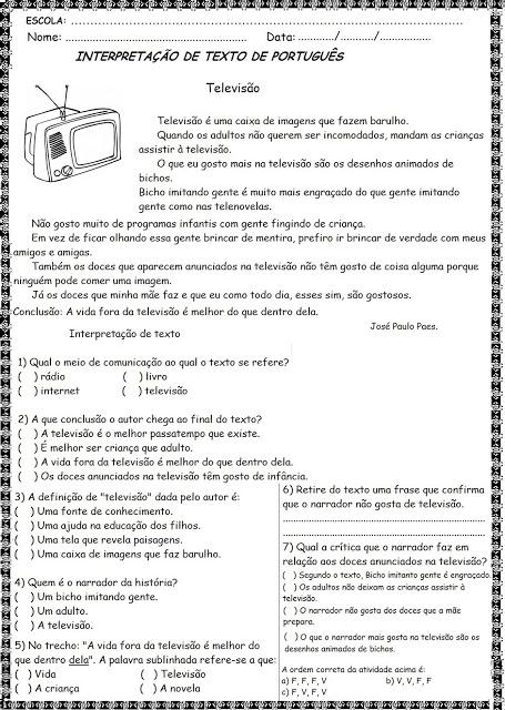 Texto curtos para interpretação 4° ano