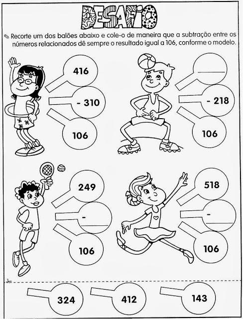Atividade de matemática do 6° ano
