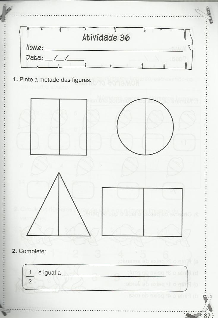 Exercícios de matemática 1º ano adição e divisão