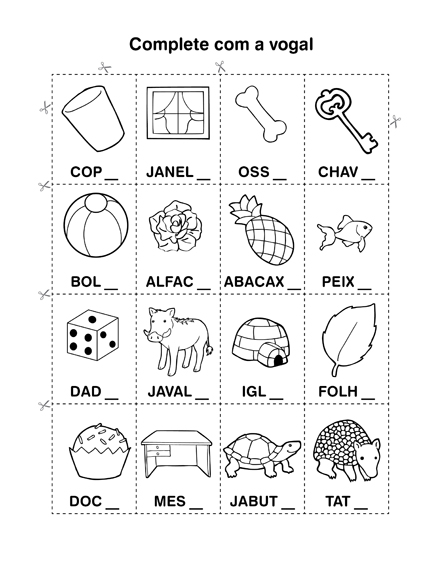 Atividade primeiro ano - Atividades Alfabetização