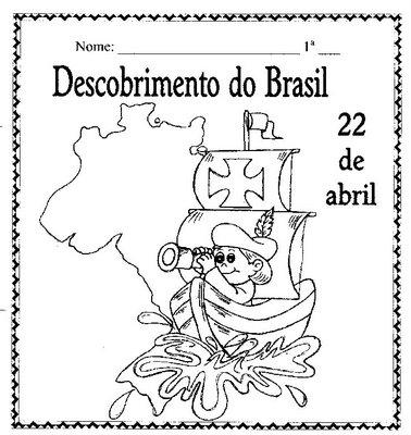 Descobrimento do Brasil - Barco caravela colorir
