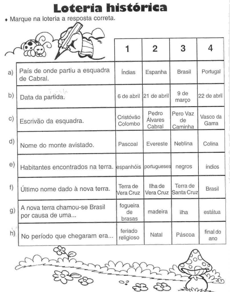 Loteria histórica - Descobrimento Brasil - Exercícios