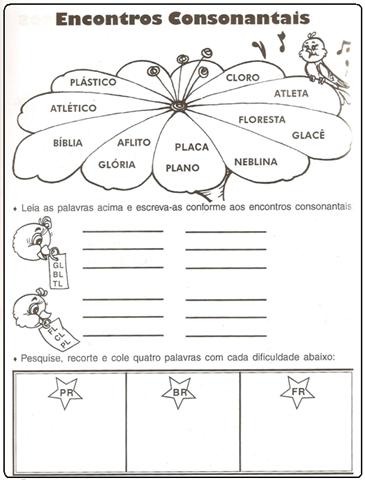 Encontro consonantal - exercícios para primários