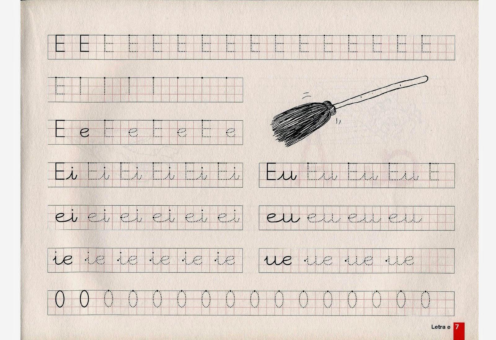 Atividade de caligrafia das vogais