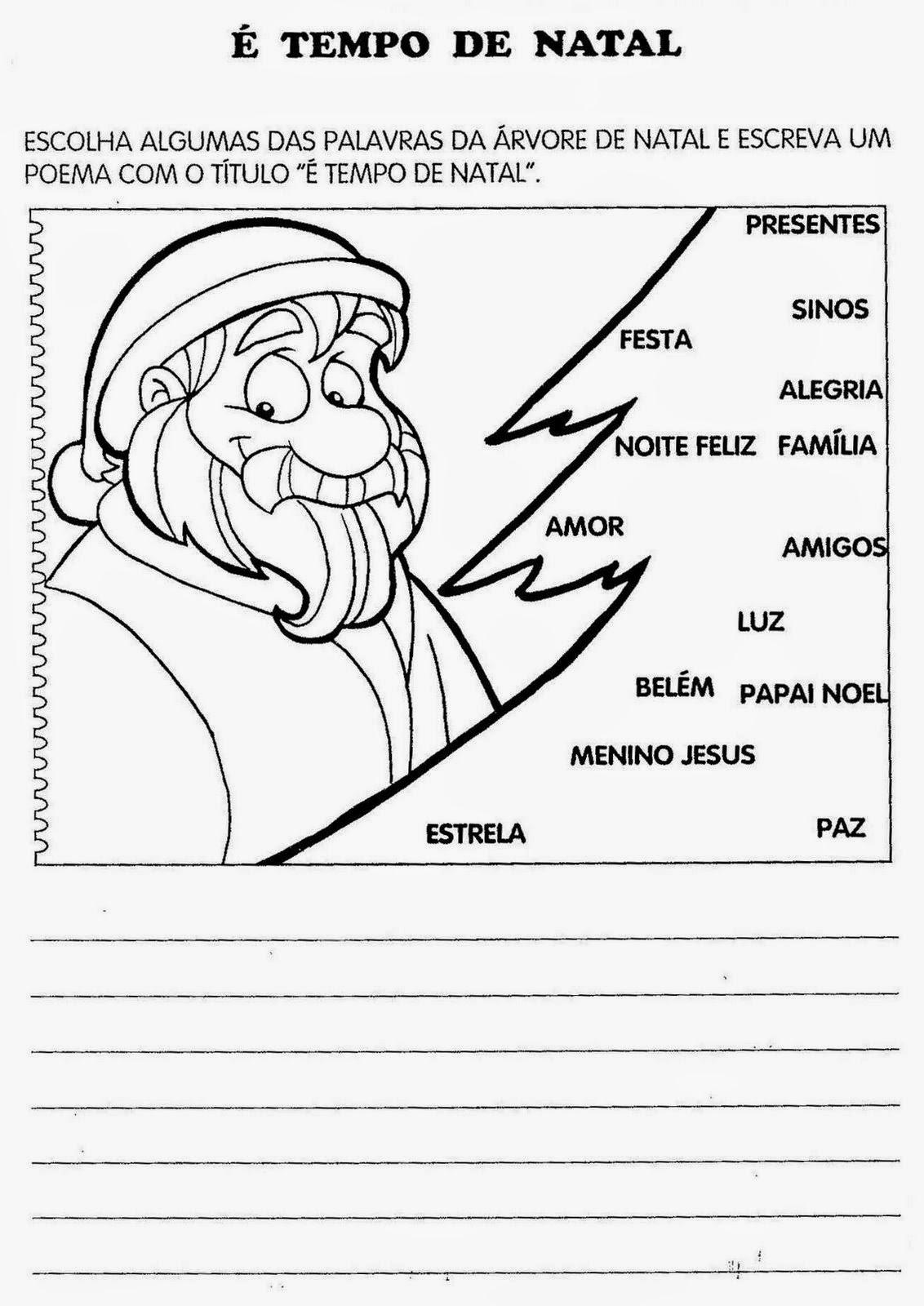 Exercício Natal colorir e caça-palavras