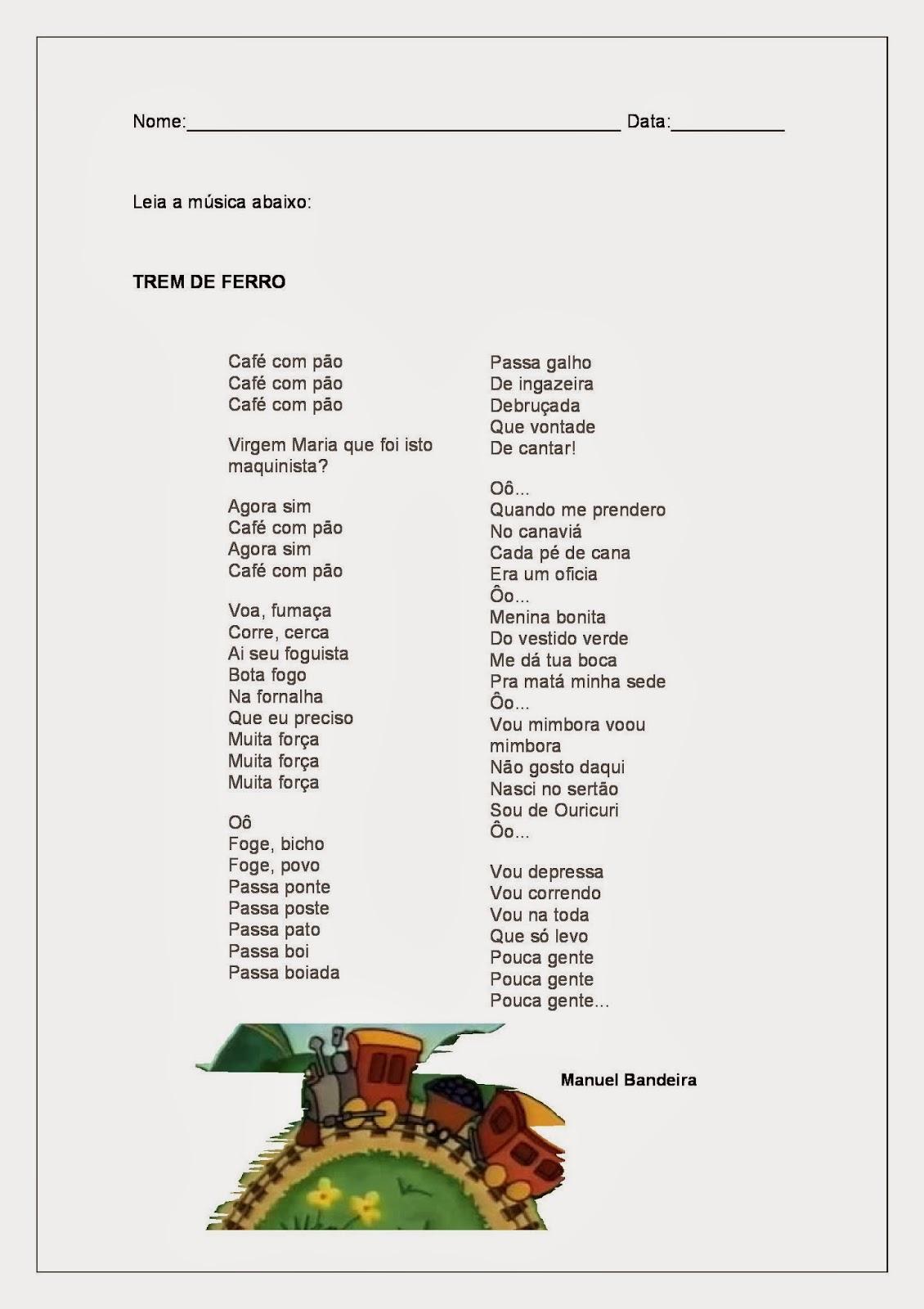 Trem de Ferro Manuel Bandeira - Alfabetização