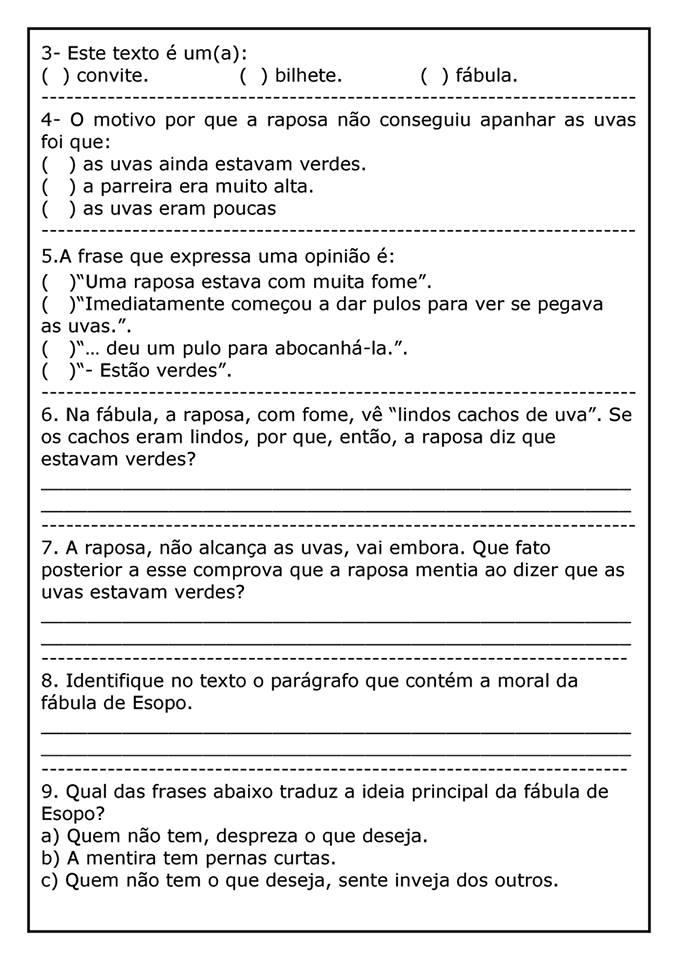 Texto A Raposa E As Uvas Com Atividades Atividades Pedagogicas