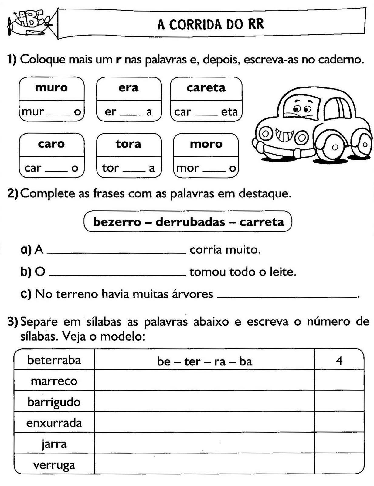 Atividades Com R E Rr Para Alfabetização Atividades Pedagógicas