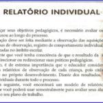 Modelo de relatório individual para Educação Infantil