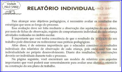 Relátorio Individual Avaliação Na Educação Infantil Atividades