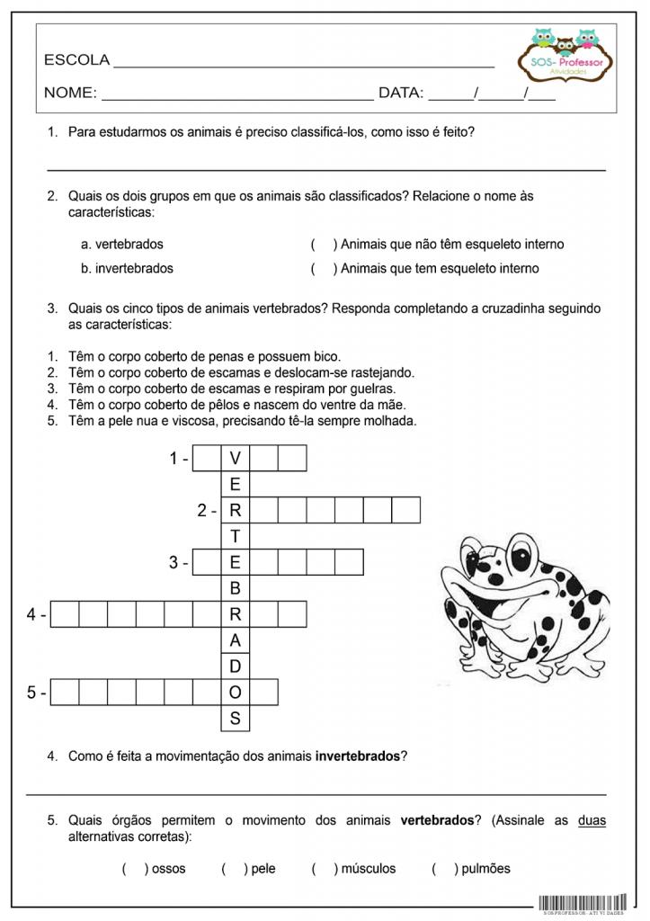 exercicios SOBRE ANIMAIS VERTEBRADOS E INVERTEBRADOS