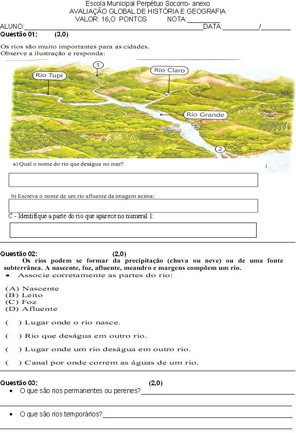 Avaliação de história e geografia sobre rios e vegetação