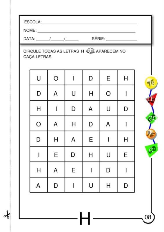 atividades com a letra h para educaÇÃo infantil