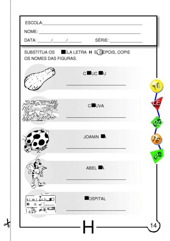 Atividades Com A Letra H Para Educacao Infantil