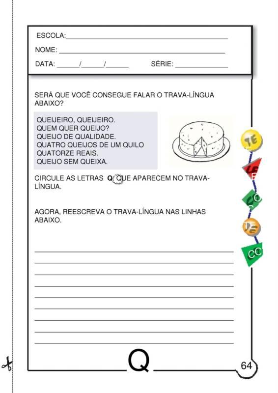 ATIVIDADES COM A LETRA Q - Atividades Pedagógicas